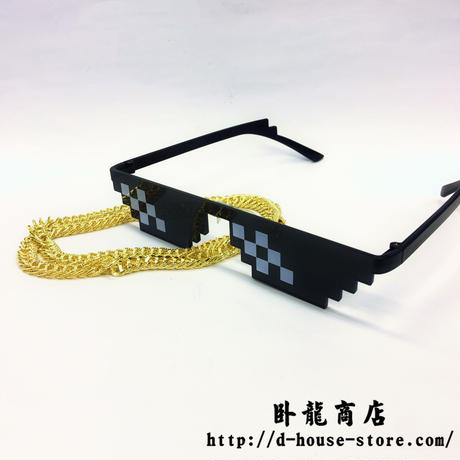 「Thug life」「deal with it glasses」コスプレ用アクセサリセット ピクセルサングラス ワイドパンクネックレス