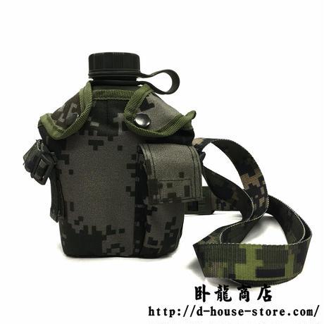 中国人民武装警察 武警辺防部隊支給 新式水筒セット 折りたたみスプーン 携行ポーチ付き
