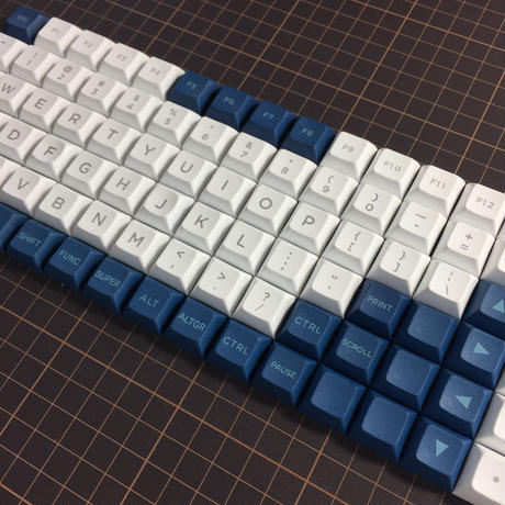 DSA PBT Keycap Set (ALL 1U/White/Blue)