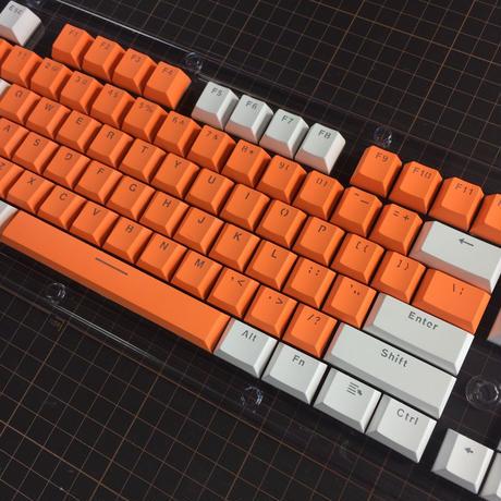 Translucent Double Shot 104 Keycap Set (Orange/White)
