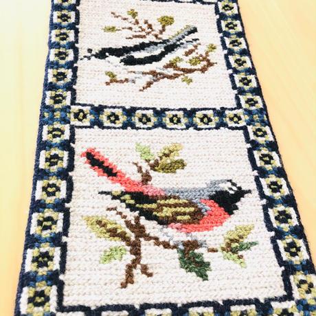 北欧伝統手工芸品/タペストリー/トヴィスト刺繍/4種類の鳥さん柄