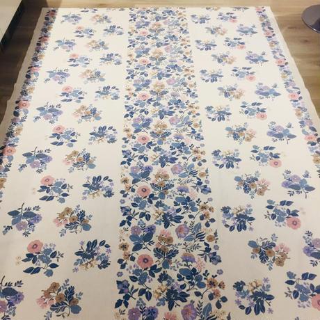 Almedahls/アルメダールス/ヴインテージテーブルクロス/ブルー基調のお花柄/綿