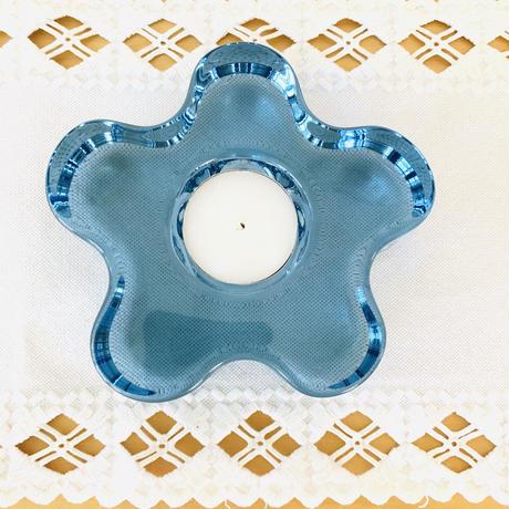 Kosta Boda/コスタ ボーダ/クリスタルガラス/お花型のキャンドルホルダー/アクアマリンブルー/02