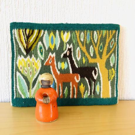 北欧伝統手工芸/フレミッシュ織/壁掛け/お花と鹿の親子