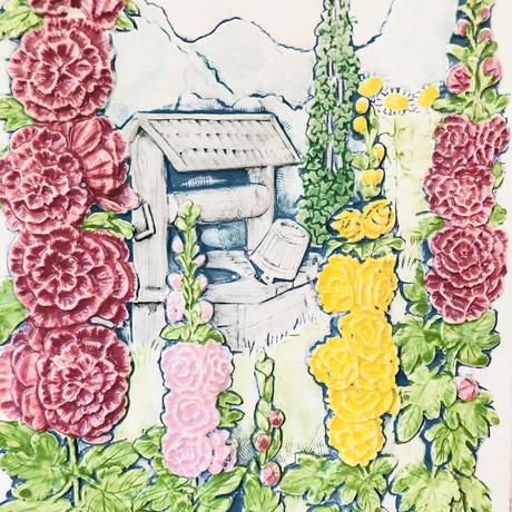 Jie Gantofta/ジィ ガントフタ/陶板/StockRose/タチアオイのお花/中大