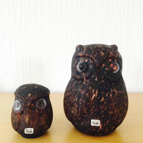 Boda/ボーダ/ガラスのフクロウさん親子/フィギユア