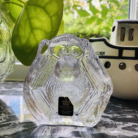 Royal Krona/ローヤルクローナ/Lisa Larson/リサ ラーソン/ガラスのオブジェ/Inte höra/聞か猿