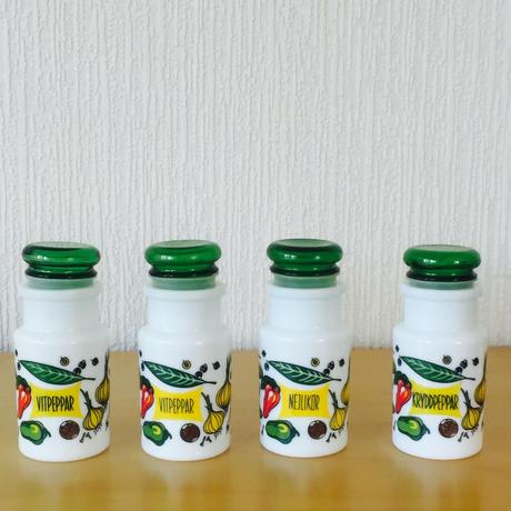 レトロなミルクガラスのスパイスポット/4本セット