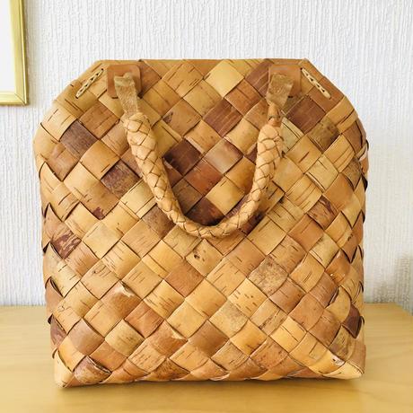 北欧伝統手工芸品/Näver/ネーバー/本革ハンドル/手提げバッグ/大