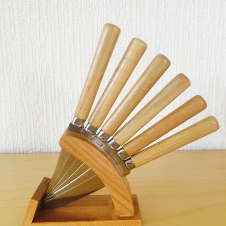 ペティナイフ/ステレンス、木製/6本セット/台付き