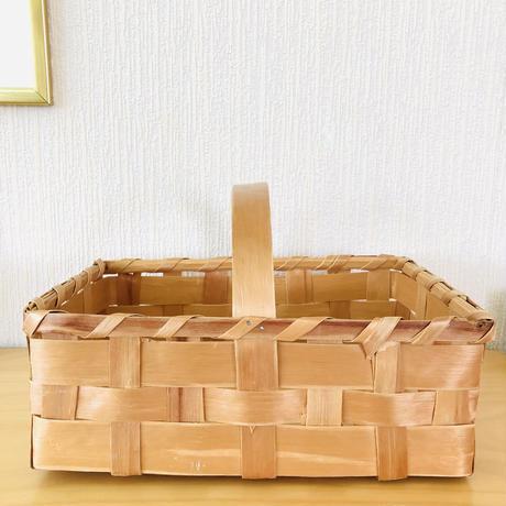 北欧伝統手工芸品/Spånkorg/スポンコリ/ヴィンテージ/手提げカゴ/大