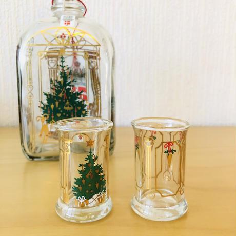 Holmegaard/ホルムガード/クリスマスボトル&ショットグラス2個セット/オリジナルカトーン入り新品未使用品/1991年度