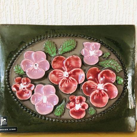Jie Gantofta/ジィガントフタ/Gabriel/ガブリエル/陶板/ヴィオラのお花とハマナスのお花/2枚セット