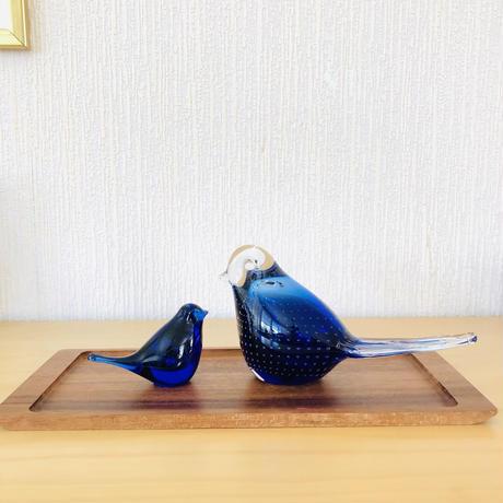 ハンドメイドガラス/ヴィンテージ/鳥さんのオブジェ/ブルー/大/20cm