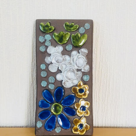 Jie Gantofta/ジィガントフタ/陶板/青い大輪のお花柄