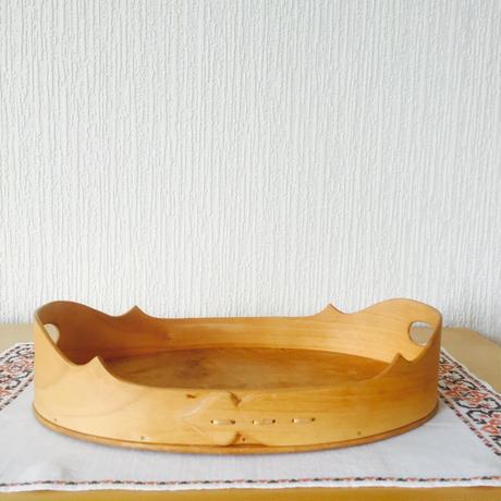 伝統手工芸品/白樺とナナカマドの木製トレイ