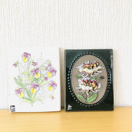 Jie Gantofta/ジィ ガントフタ/陶板/ニオイエンドウとヴィオラのお花/2枚セット