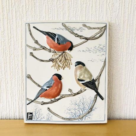 Jie Gantofta/ジィ ガントフタ/陶板/野鳥シリーズ/Domhare/ウソのつがい