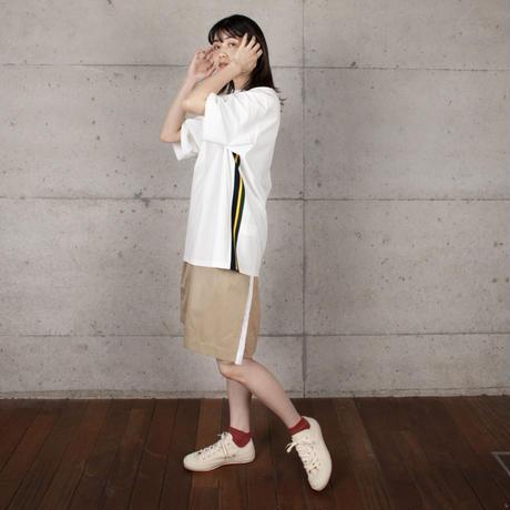 [COOHEM] KNIT SIDELINE T-SHIRT / White | Unisex