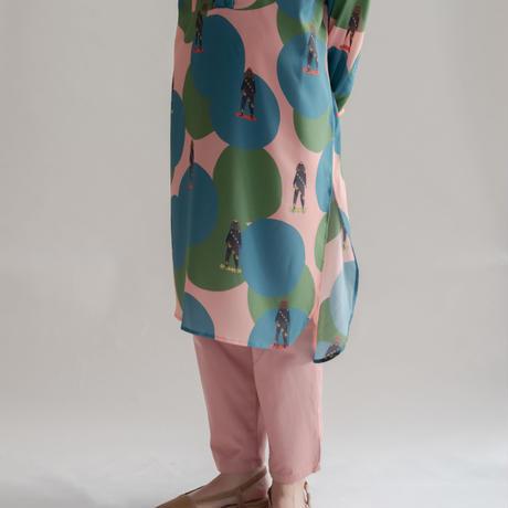 [mannine] スタンドシャツワンピース /  baby pink|Women's