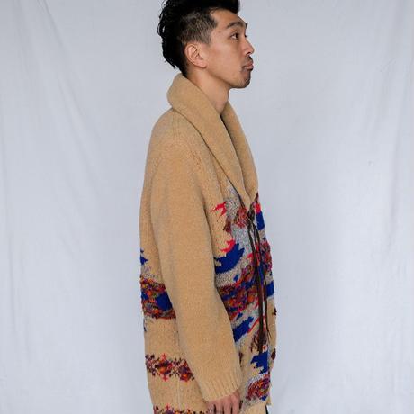 [COOHEM]こだわったネイティブ・アメリカン柄、しっとり暖かいガウンコート/BEIGE|Men's
