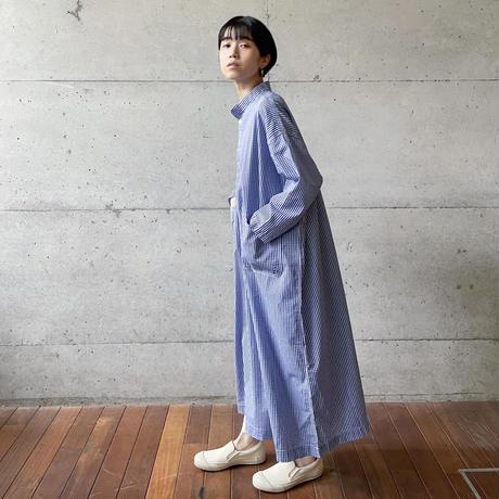 [FURALI] スタンドカラーシャツワンピース   / 青ギンガム | Women's