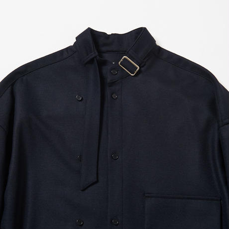 Neck Belted Stand Collar Shirt (Brown)