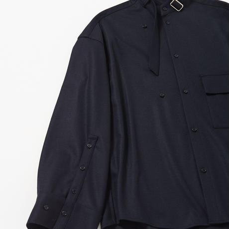 Neck Belted Stand Collar Shirt (Navy)