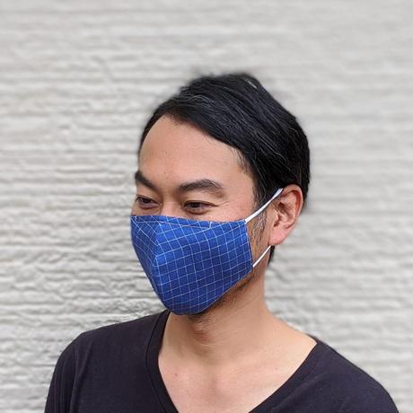 【Men's】優しくフィットするマスク/BLUE CHECK LINEN