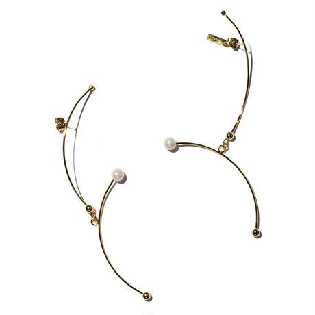 ステムパールイヤリングス(両耳ピアス)/stem pearl earrings/0081