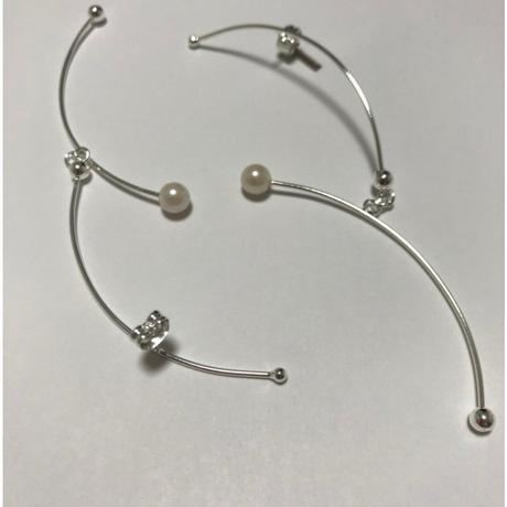 stem pearl earrings/0081