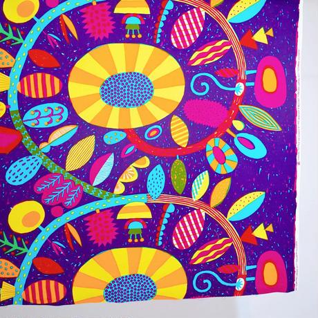 マチトートバッグ 「うずまきフラワー」purple