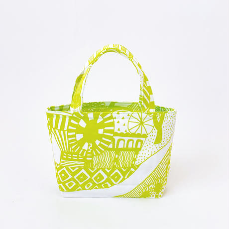 Mini tote Bag 「散歩道」citron