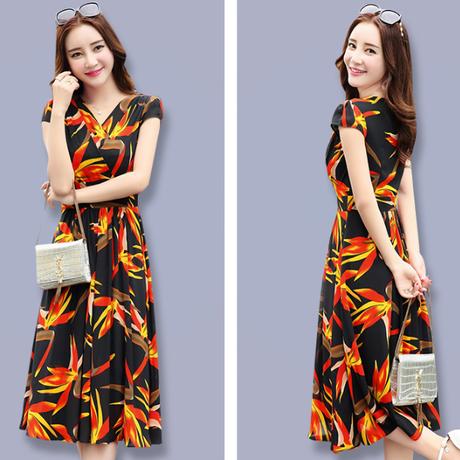 シフォンワンピース Vネック スリムロング 半袖ドレス(6)