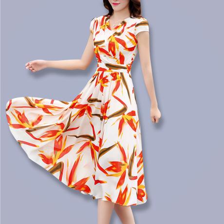シフォンワンピース Vネック スリムロング 半袖ドレス(2)