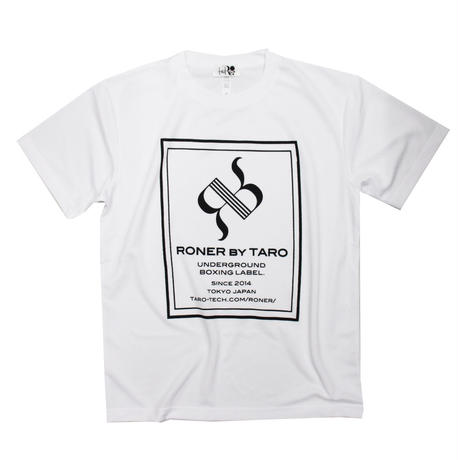 RONER SPORT       BOX  logo  T-shirt    BLACK / WHITE