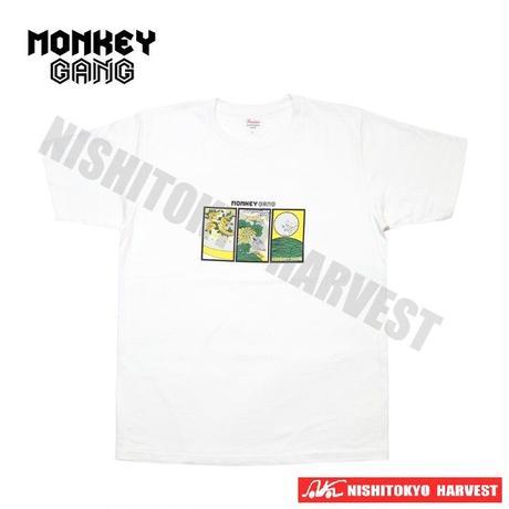 【7-1】MONKEY GANG 花札daytime デザイン Tシャツ 【ホワイト】