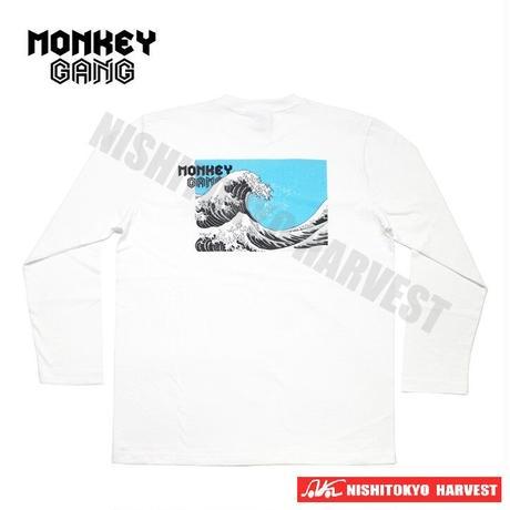 【8-1】MONKEY GANGWAVEデザイン ロング Tシャツ 【ホワイト】