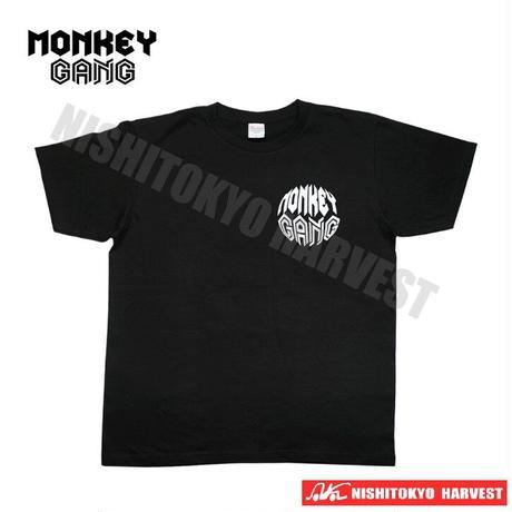 【6-1】MONKEY GANG ホワイトプラネット  デザイン Tシャツ 【ブラック】