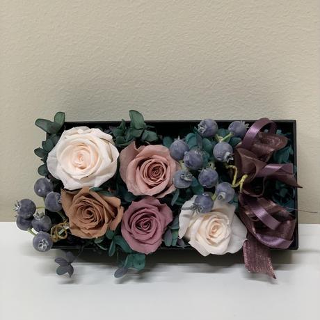 【予約販売】送料無料  プリザーブドフラワー 花言葉ギフト 感謝のBOXアレンジ 薔薇(5) ギフトセット   父の日  誕生日 内祝い お礼