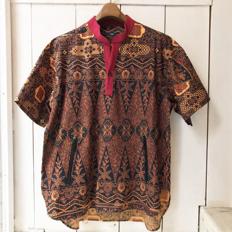 Y.O.N.  PRINTED SKIPPER SHIRTS  BROWN