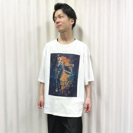 TAKAYUKI TAZAWA シルエットデザインBIG Tシャツ/WHITE