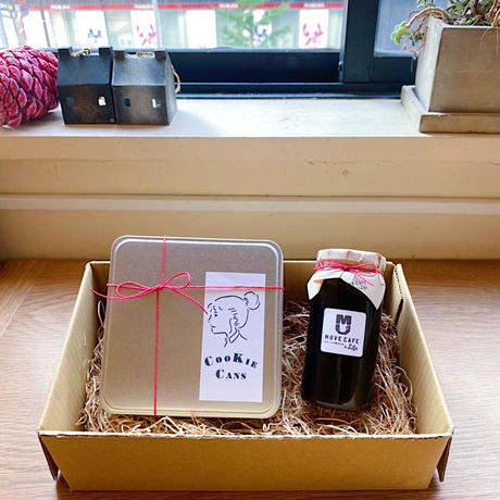 5/18-19日発送分 ねこクッキー缶(YELLOW)と焦がしキャラメルベースのセット