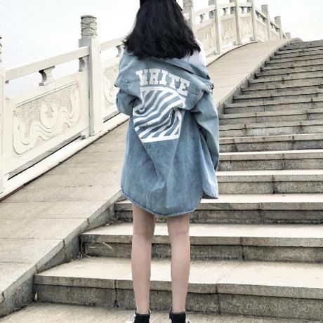 2017新作 オフホワイト/Off-White 新品 春物 デニムTシャツ 長デザイン 男女兼用 XLM5054