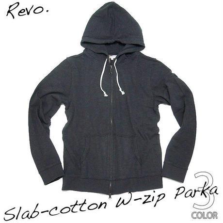 th-0141-sm - スラブ天竺 W-ZIPパーカー(スモーク)Revo.-G-( ジップアップパーカー アメカジ ネイビー 紺色 長袖 )