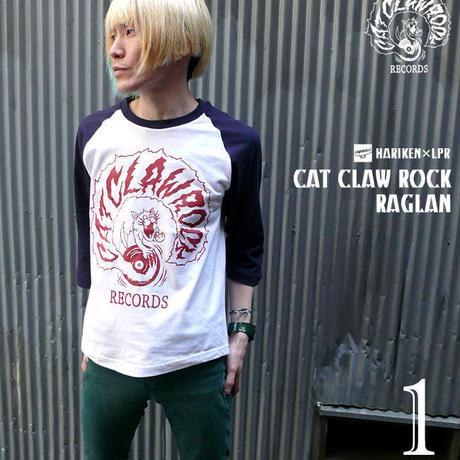 har016rg - CAT CLAW ROCK(キャット クロー ロック)ラグランスリーブ (ホワイト×ネイビー)  -G- コラボ ネコ 猫 レコード アメカジ 7分袖 七分袖