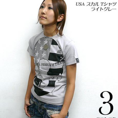 tgw019 - USA スカル Tシャツ ( ライトグレー ) - The Ghost Writer -G-  パンクロックTシャツ ドクロ アメリカ 灰色 半袖