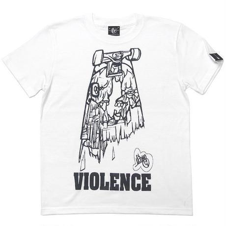 pi009tee-wh - VIOLENCE (バイオレンス) Tシャツ (ホワイト)-G- 半袖 白Tee ゾンビ スケボー パンクロックTシャツ バンドTシャツ