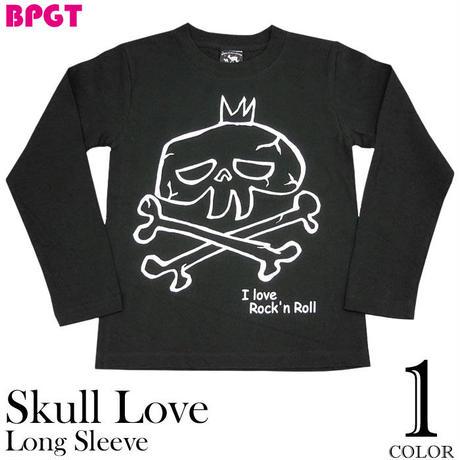 sp033lt - I love Rock'n Roll(スカルLOVE)ロングスリーブTシャツ - BPGT -G- ロンT ロック ドクロ柄 ガイコツ バンド 長袖 カットソー