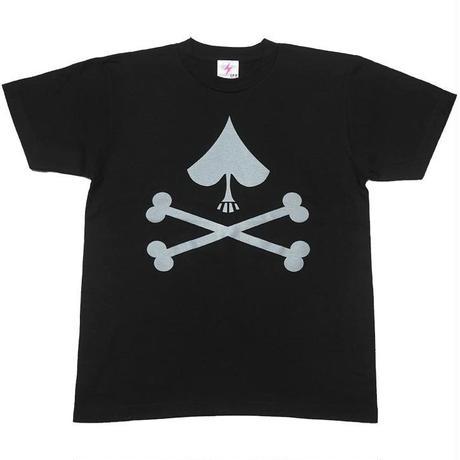 j01tee-bk - スペード Tシャツ (ブラック)-G- ロックTシャツ スカル ドクロ 髑髏 半袖 黒 Tシャツ屋さんバンビ
